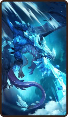 Dragon Rpg, Dragon Games, Fantasy Dragon, Ice Magic, Magic Art, Mythical Creatures Art, Fantasy Creatures, Ice Drawing, Mythical Dragons