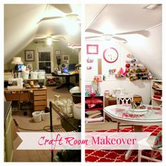 Top This Top That Craft Room Reveal that you want to see. tons of organization and pops of pink!
