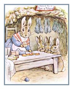 Mrs Rabbit Makes Dinner inspired by Beatrix Potter Counted Cross Stitch or Counted Needlepoint Pattern