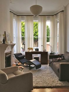 Glamorous Bay Window Curtain Rods fashion San Francisco Eclectic Living Room Remodeling ideas with black leather lounge chair contemporary desk drapery gold pig statue gray sofa high pile Ikea Curtains, Curtains Living, Living Room Windows, White Curtains, Country Curtains, Long Curtains, Green Curtains, Double Curtains, Nursery Curtains