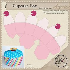 Free printable cupcake box: Great for sending extras home w guests, giving as a gift or party favor.