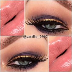 Try reverse cat eye with gold liner.