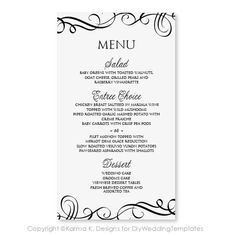 Beautiful Wedding Menu Templates For Microsoft Word Gallery Styles