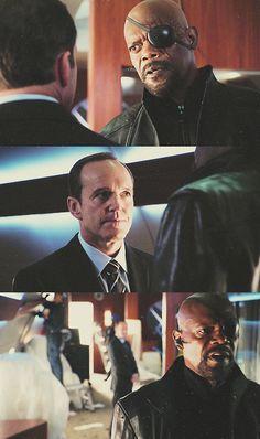 Clark Gregg (as Agent Coulson) & Samuel L Jackson (as Nick Fury)