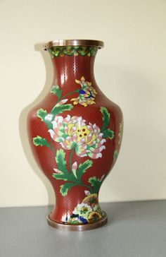 Large Chinese Or Japanese Cloisonne Vase 10  tall