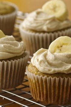 Mix super ripe bananas with yellow cake mix for delicious gluten-free birthday cupcakes!