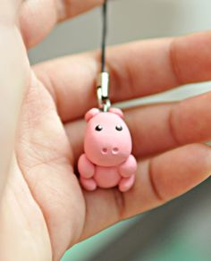 Miniature Hippo Polymer Clay CharmAnimal by GraceByGrace on Etsy
