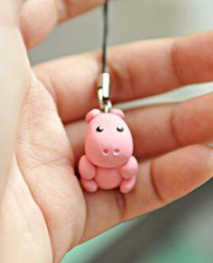 Miniature Hippo Polymer Clay CharmAnimal by GraceByGrace on Etsy