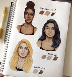 Quick color swatches corresponding to each ethnicity ☺️ hope it helpes! All those colors are PROMARKERS (from the darkest: tan, dusky pink, almond) and colored pencil is POLYCHROMOS burnt umber
