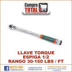 #CompraTotal - #HerramientaManualCostaRica LLAVE TORQUE ESPIGA 1/2 RANGO 30-150 LBS / FT