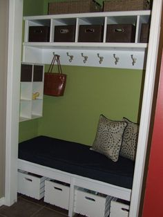 39 Ideas For Front Hallway Closet Organization Entrance Closet Bench, Front Hall Closet, Closet Nook, Closet Redo, Hallway Closet, Front Hallway, Closet Remodel, Closet Bedroom, Front Entry