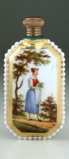 c.1850 FRENCH PORCELAIN SCENT PERFUME BOTTLE WITH HAND PAINTED SCENE