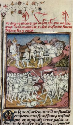 Roland tue Marsile (Grandes Chroniques de France, 1420, Toulouse)