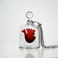 "A tiny anatomical heart with exceptional detail placed within a miniature jar. All components are worked by hand from glass. Heart ""floats"" in the middle of the jar with a discreet clear post sealed to the back. Created by Kiva Ford"