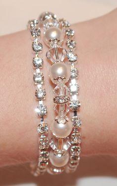 Stunning Rhinestone Clasp, Swarovski Pearl & Crystal Bridal Bracelet
