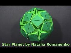 #45 Kusudama Star Planet & Stellar Flare by Natalia Romanenko - Yakomoga Origami tutorial - YouTube