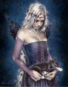 Angel of Death with Sleeping Cat - Victoria Frances Mini Poster