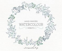 Watercolor wreath: PNG floral clip art / flower wreath / Wedding invitation clip art / commercial use / Greenery branches & leaves / CM0076a by CheesecakeandPi on Etsy