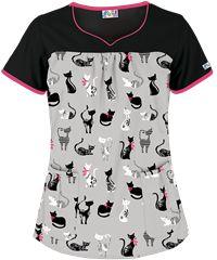 UA+Couture+Kitties+Black+Print+Scrub+Top