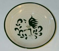 Rare Cream Colored Pennsbury Pottery Large Serving Bowl decorated with Green Rooster Design