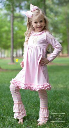 Pink Knit Ruffle Dress with Pink/Oatmeal Legging Set