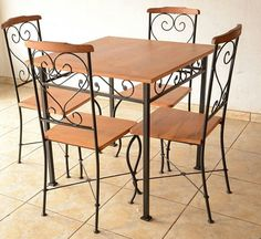 Iron Furniture, Steel Furniture, Dining Furniture, Rustic Furniture, Home Furniture, Furniture Design, Dining Chairs, Wrought Iron Chairs, Metal Chairs