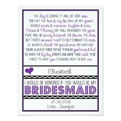 Shop Will you be my Bridesmaid? Purple/Black Poem Card created by weddingsnwhimsy. Bridesmaid Poems, Be My Bridesmaid Cards, Will You Be My Bridesmaid, Bridesmaid Proposal, Pink Wedding Invitations, Engagement Party Invitations, Invites, Wedding Stationery, Matron Of Honour