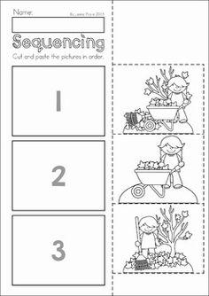 Autumn / Fall Preschool No Prep Worksheets & Activities. Raking leaves sequencing activity.
