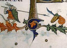 donkey warrior vs. killer snail Pontifical of Guillaume Durand, Avignon, before 1390 (Paris, Bibliothèque Sainte-Geneviève, ms. 143, fol. 179v)