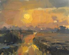 """Daily Paintworks - """"Painting Dawn Yellow Sun"""" - Original Fine Art for Sale - © Roos Schuring"""