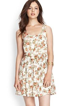 Love 21 - A sleeveless floral printed dress featuring an elasticized waist. . Woven. Fully lined. 10...