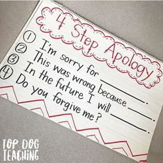 ICYMI and want to try this in 2017: We use the 4 step apology in our classroom to help kids really slow down, internalize, and sincerely reflect when saying sorry. 💕Sometimes what kids need most isn't on the lesson plan. 💗 👉Tag a parent or teacher friend in the comments who might like to try this idea.