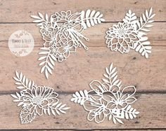 SVG / PDF Flowers x 4 Design - Papercutting Template to print and cut yourself (Commercial Use)
