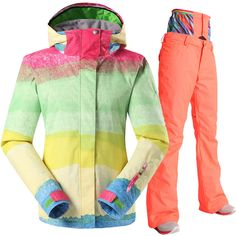snow gsou women ski suit ladies ski jacket ski high waist pants rainbow winter coat waterproof - Veste Colore Femme