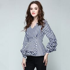 437dbeabf646e4 ... blouse fashion directly from China fashion blouses Suppliers  SIPAIYA  2017 New Fashion Striped Blouse Sexy V neck Long Sleeve OL Blouse Shirt  Women Tops ...