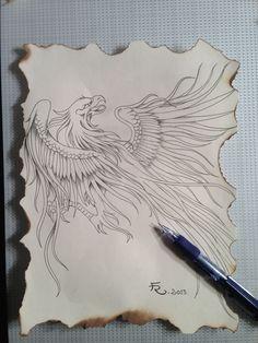 Phoenix pencil sketch tattoo idea 2013 by Fernando Reyes www.reyesglass.com