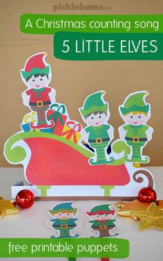 Five Little Elves Christmas Song - Free Printable Puppets - Picklebums - - Five Little Elves Song – a Christmas counting song with free printable puppets Preschool Christmas Songs, Christmas Music, Christmas Crafts For Kids, A Christmas Story, Christmas Elf, Christmas Printables, Christmas Themes, Xmas, Christmas Songs For Toddlers