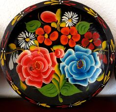 Vintage Mexican Red and Blue Rose Batea Plate by RoyalVintageGlass