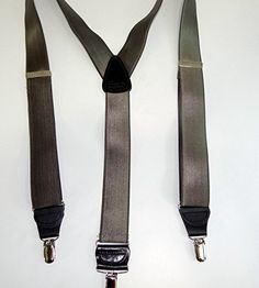 """Pewter Grey Satin Finished Formal Series 1"""" wide Suspenders Y-back Silver clips"""