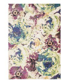 Another great find on #zulily! Magenta & Green Floral Madeline Rug #zulilyfinds