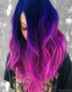 Great combination of blue to pink hair color highlights for In this year . - Great combination of blue to pink hair color highlights for This year … color - Cute Hair Colors, Pretty Hair Color, Beautiful Hair Color, Hair Color Purple, Hair Dye Colors, Pink Color, Galaxy Hair Color, Blue And Pink Hair, Dark Purple