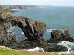 """At Stack Rocks, this formation is known as """"The Green Bridge of Wales"""""""