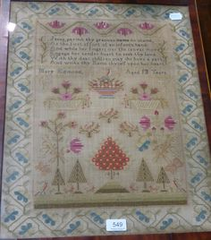Tennants Auctioneers: A 19th century needlework sampler dated 1824