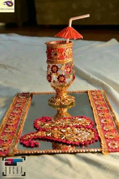 For the 'doodh pilai' rasam Desi Wedding Decor, Wedding Stage Decorations, Wedding Crafts, Wedding Events, Weddings, Engagement Decorations, Wedding Bells, Mehendi Decor Ideas, Indian Decoration