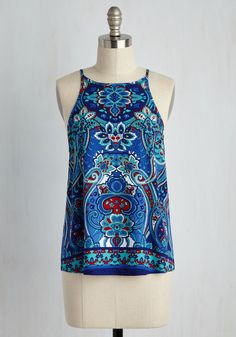 Architectural Adventures Top. Sporting this sleeveless top, youre primed to tour the loveliest Mediterranean sights in style. #blue #modcloth