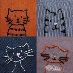 [Embroidery] embroidered with a cute little cat!  Can be embroidered on clothes, cute cat can also be embroidered on the bag, cure system that everyone can have!