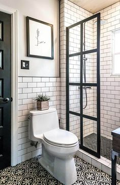 maybe with a lighter grout on walls? Manhattan Chic Black and White Tiling