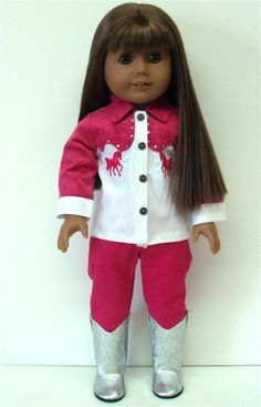 "COWGIRL TOP + PINK JEANS PANTS - 18"" Girl Doll Clothes - An American Boutique"