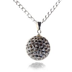 Shades of Grey Crystal Ball Necklace Black Diamond - 4EverBling