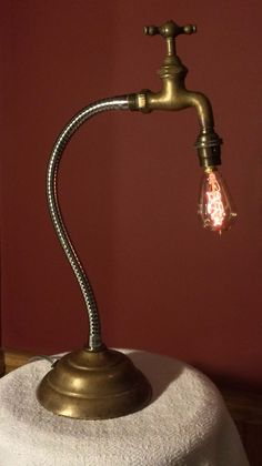 Lamp made from antique brass tap